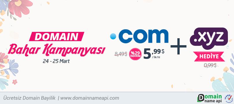 .COM 5,99$  Domain Bahar İndirimi –Ücretsiz .XYZ Domain